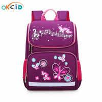 Mochila escolar okkids para niñas mochila escolar con estampado de mariposa púrpura bonita bolsas escolares impermeables de Rusia con tira reflectante