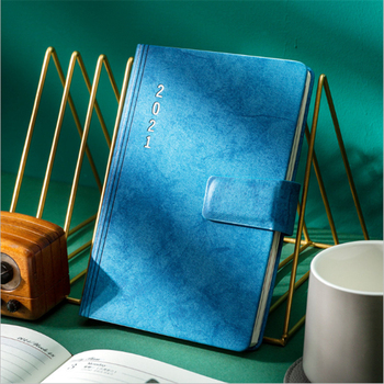 2021 Commercial Agenda Planner Notebook Daily Weekly Time Manage A5 Leather Cover Note Books Office Schedule manage
