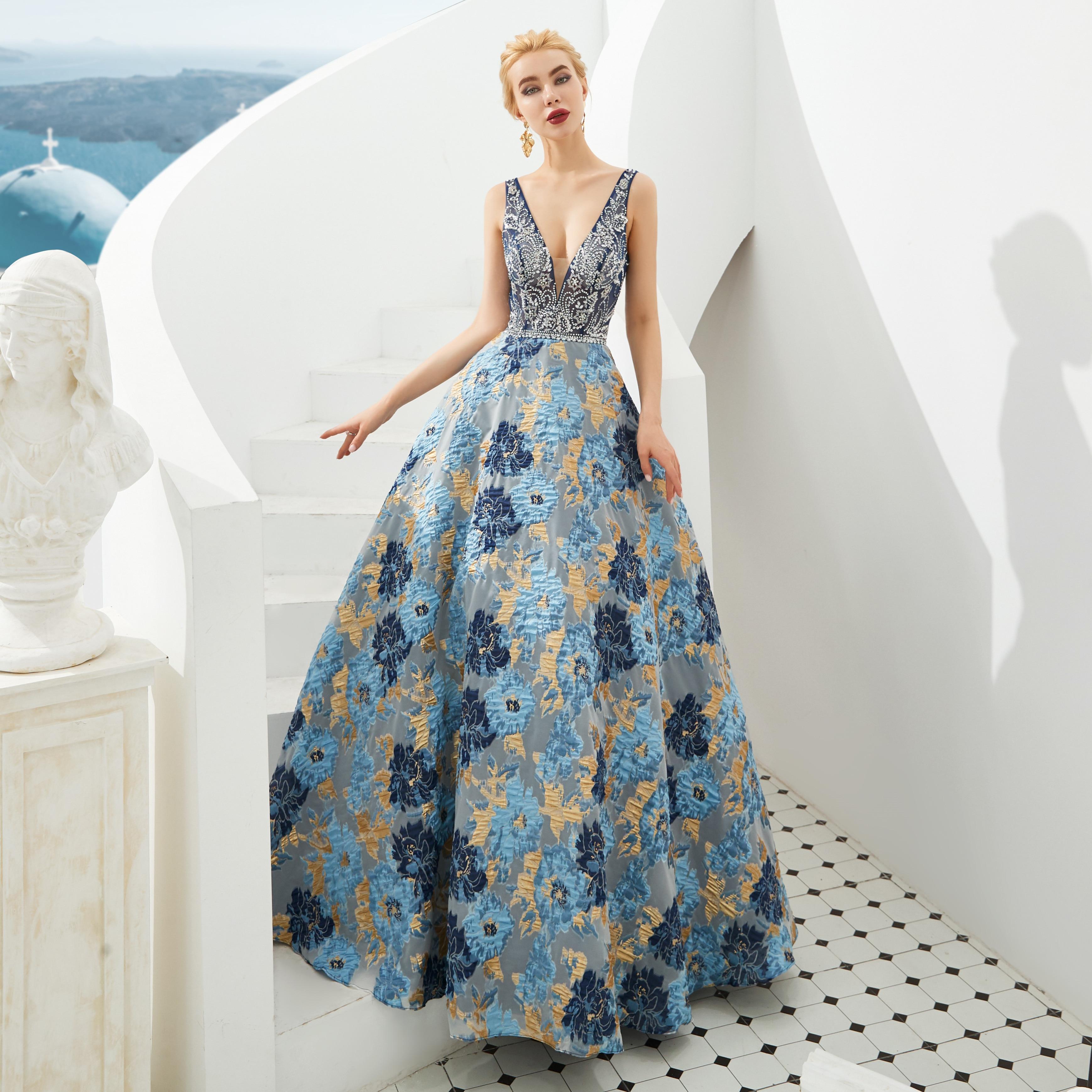 2019 col en V robes de bal Floral imprimé robes de soirée robe formelle robe Avondjurken Gala Jurken