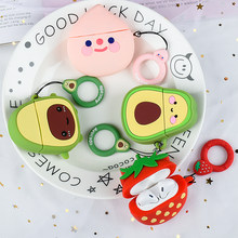 Case For Apple AirPods 2 1 Earphone Soft Avocado Case For Apple Air Pods 1 2 Cartoon Strawberry Cover With Hooks Capa Funda(China)