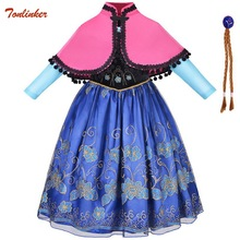 Girls Halloween Anna Costumes Christmas Eve Xmas Elsa Anna Dress Up Party Dresses With Cape Costume New Year Dresses Vestido baby girls clothes christmas carnival party costumes vestido red children dresses with feather christmas new year tutu dresses