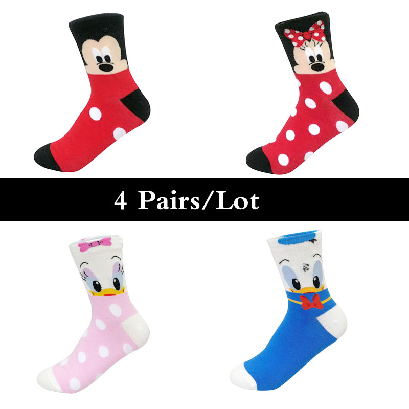H88fa3dfd684947d394e857bb51cc0237L - Disney 5 Pairs/Lot Casual Cute women Scoks Cartoon animal Mickey Mouse Donald Duck invisible ankle Socks Cotton happy Funny sock