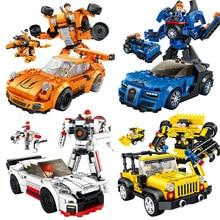 Panlos Blocks 1 to 3 Type Deformation Robot Racing Car Building DIY Toys For Children Constructor Models Action Figure