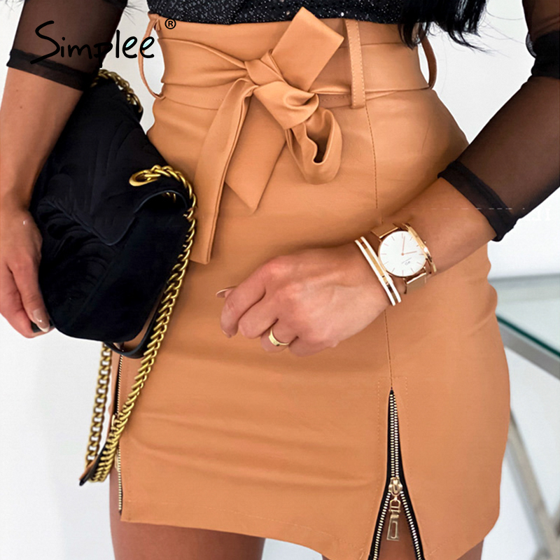 Simplee Sexy leather skirt women elegant High waist bow tie female short mini skirt Party club streetwear ladies plus size skirt