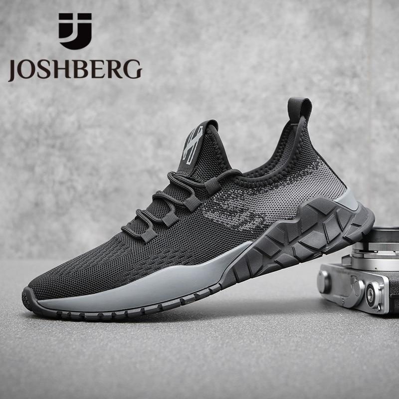 JOSHBERG New Fashion Black Fashion Design Men Casual Shoes Top Quality Mens Trainers Trending Men Shoes Sapatenis Masculino