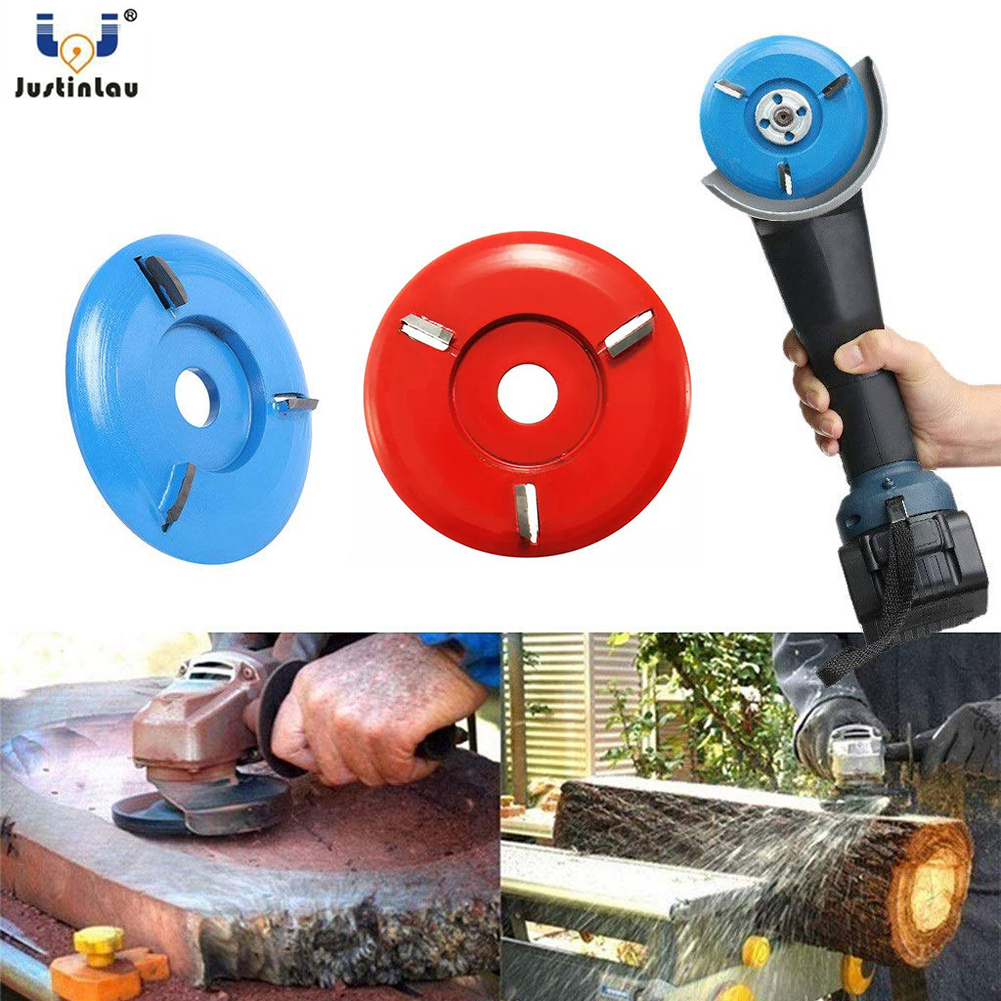 JUSTINLAU Woodworking Wood Carving Disc Tool Three-Tooth Blade For 16mm Aperture Angle Grinder Of Blue And Red