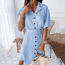 Fashion Midi Dress with belt women 2020 summer Casual solid color short-sleeved V-neck button shirt dress vestidos de fiesta