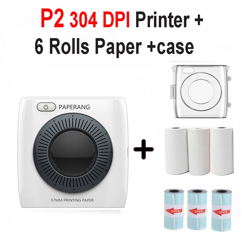 PAPERANG P2 карманный портативный Bluetooth фотопринтер мини 300 dpi термоэтикетка наклейка принтер для мобильного телефона P1 200 dpi - Цвет: P2 6 Pcs Paper Case