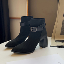 Pointed Toes Ankle Boots Women Stretch High Heel Sexy Fashion Autumn 2019 New Elegant Soft Slip On
