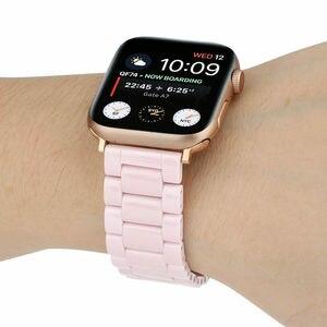 Image 5 - 3 Beads Ceramic Watchband for iWatch Apple Watch Series 5 4 3 2 1 38mm 40mm 42mm 44mm Women Men Band Wrist Belt Link Strap