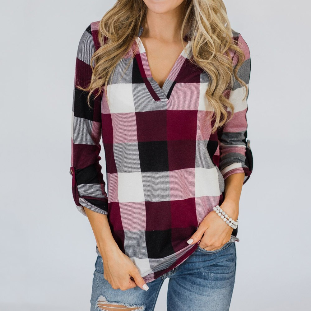Plaid Casual Tops Womens Blouse Roll Up Long Sleeve V Neck Button Lattice Shirt Print Blouse Tops Loose Female Long Sleeve Tops