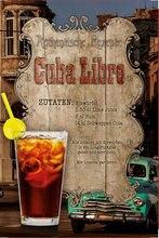 Kuba Libre Cocktail Rezept Blechschild Schild Gewolbt Metall Zinn Zeichen