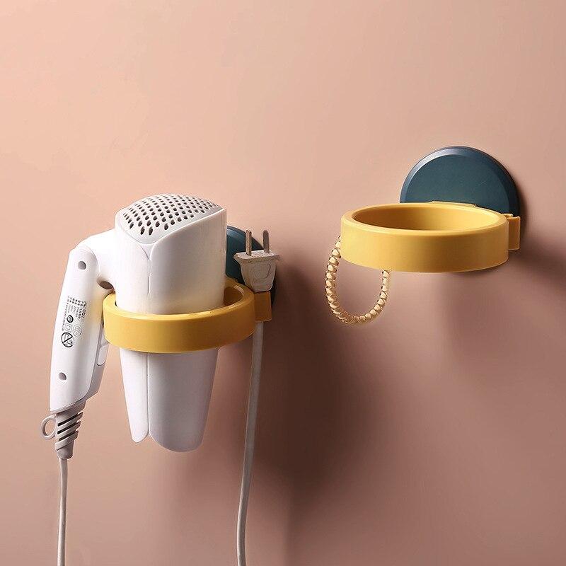 Free punching hair dryer racks household wall hanging bathroom toilet bathroom storage rack hair dryer rack daily accessories