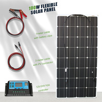 home complete solar panel kit 100w 12v solar power energy off grid system with 12v 24v solar charge controller
