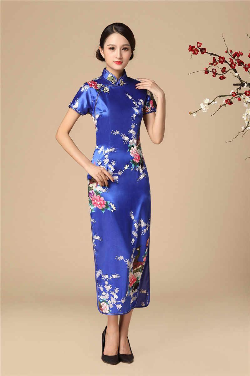 Vestidos largos de fiesta de noche de satén Qipao clásico de mujer china botón Vintage moderno Cheongsam