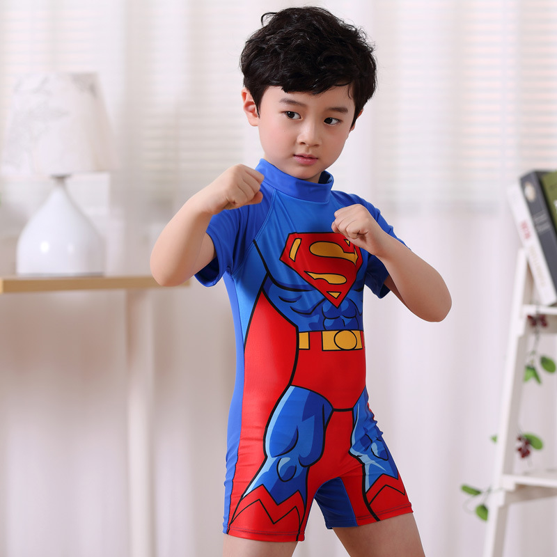 BOY'S Superman Tour Bathing Suit Cartoon Boxer One-piece Swimming Suit Children Short-sleeved Sun Protection Clothing Large Chil
