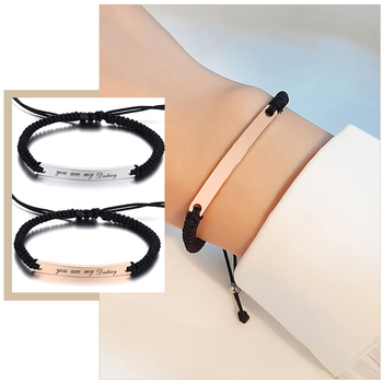 Customize Engrave Nameplate Braided Couple Bracelets for Women Men Stainless Steel Promise Love Relationship Gifts mkendn new design braided genuine leather bracelets men stainless steel airplane anchor bracelets female friendship gifts