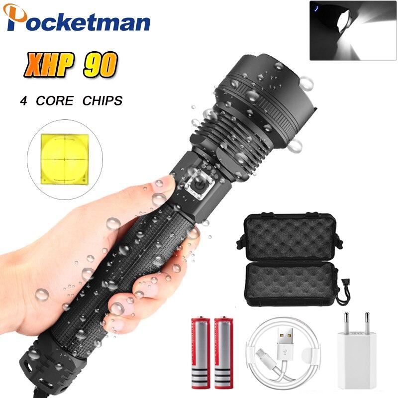 8000LM XHP90 plus puissant lampe de poche LED XHP70.2 USB lampe Rechargeable lumière tactique 18650 & 26650 Zoom torche Camping chasse