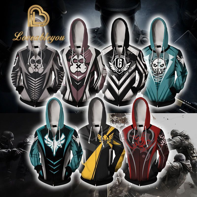 Cosplay Costumes Jackets Rainbow Six Siege 3D Print Hoodie Men/Women Zipper Hood Sweatshirts Boys Blue Tops Clothes Tracksuits