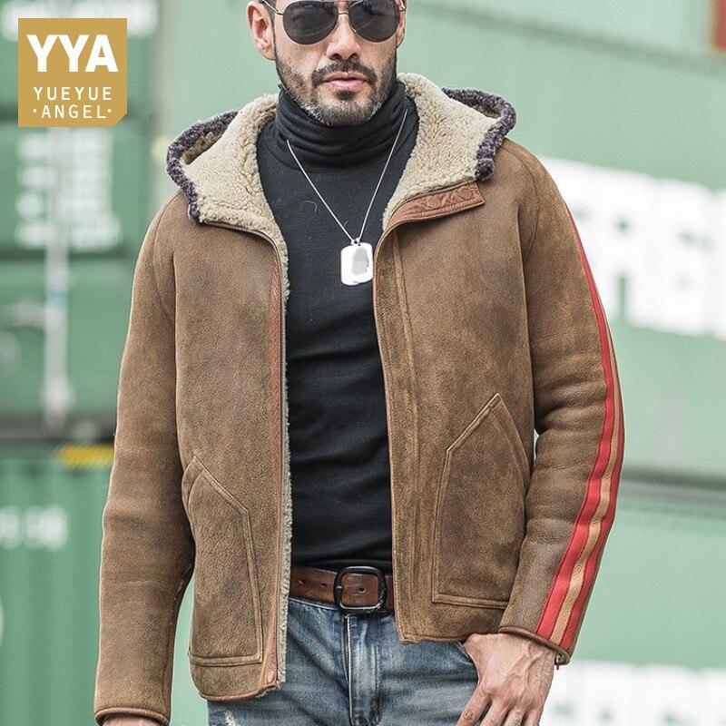 De Lujo Reversible chaqueta auténtica piel de oveja casuales de los hombres con capucha Real de piel de abrigo de hombre de invierno suelta cremallera ropa de talla grande 5XL