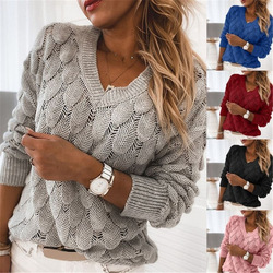 New Sweater Knitted Feather Hollow V-neck Long Sleeve Sweater European and American Winter Pullover 2020 Nian Winter Loose Adult