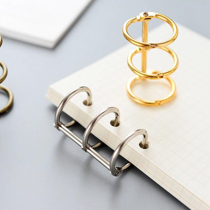 3 Pcs Metal Loose-leaf Ring Office Supply Binder Hinged Rings Stationery  Album Scrapbook Clips Craft Photo Album Metal Ring