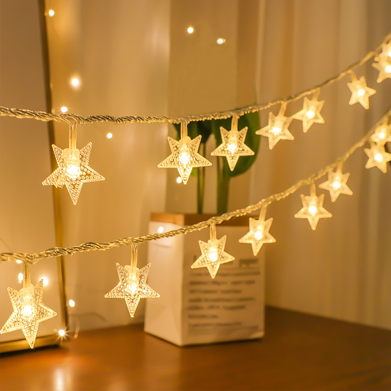 Christmas Lights Indoor Star String Lights LED Garland Battery  Operated Fairy Lights String Wedding Garden Home Decorations