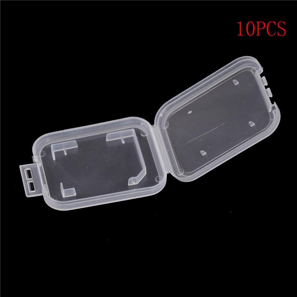 10pcs Lightweight Clear Standard SD SDHC Memory Card Case Storage Holder Box
