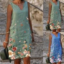 Summer Hot Sale Fashion V-Neck Printed A-Line Sleeveless Ladies Beach Skirt Casual Loose Linen Dress