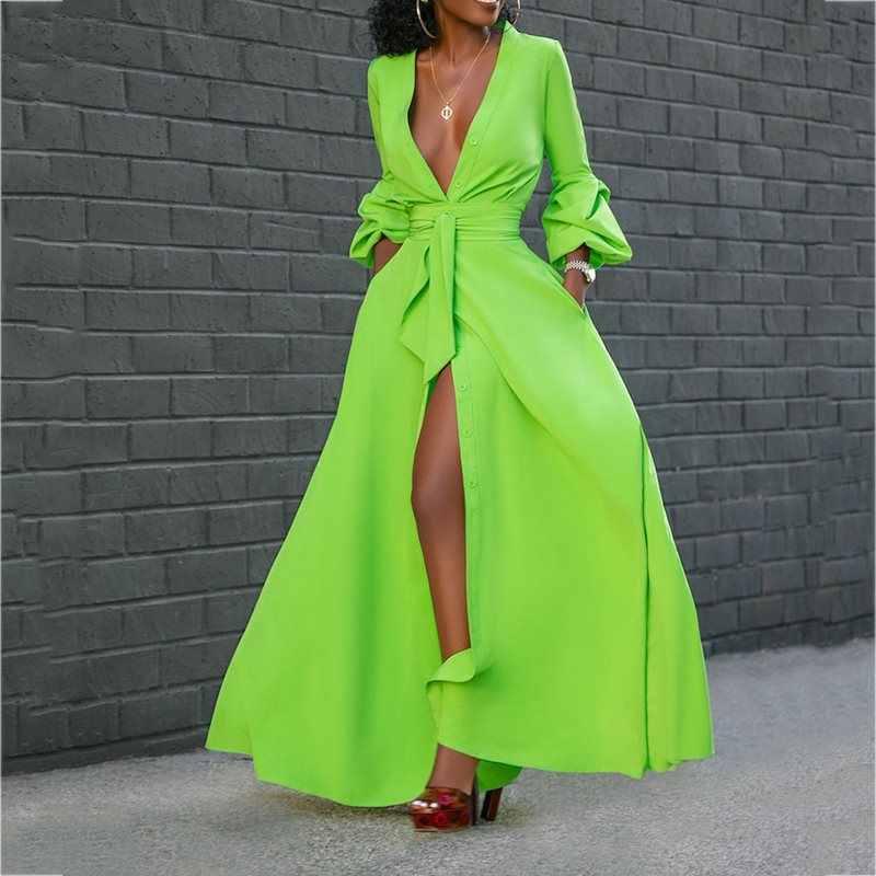 Сплит Пол-длинный пояс фонарь рукав простой пуловер Макси платье сексуальные дамы глубокий V шеи клуб случайный халат вечерние элегантные Vestido