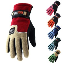 Fleece Polar Full Finger Gloves Warm Gloves Cycling Motorcycle Ski Gloves Winter Gloves Men Women Waterproof Snowboard Gloves cheap CN(Origin) Winter cycling gloves Cotton Leather PU