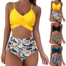Swimwear Women Swimsuits Print Bikinis Sexy Women Swimsuit High Waist bathing suit Beach wear 2 Piece Bathing Criss Cross