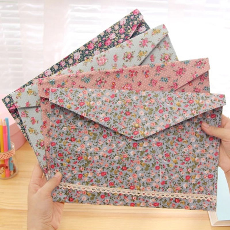 4 Pcs/lot Dots Flower Face Series A4 Documents File Bag Files Folder Big Capacity Stationery Filing Production Free Shipping