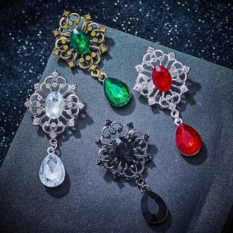 Fashion Jewelry en verre Rouge Blanc Strass éblouissante Alliage d/'or Broche Broche Cadeau