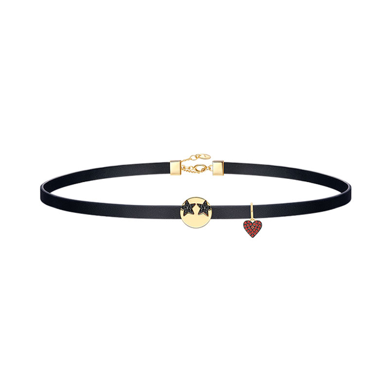 S925 Sterling Silver Jewelry Funny Loving Emoticon Leather Choker with Charm Heart Pave Zircon Women Fashion Necklace