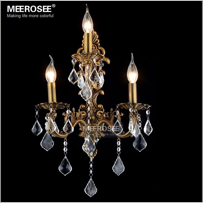 100% Guarantee Crystal Wall Lamp Night Light Brass color Wall Sconces Lamp Bronze Wall Bracket Light for Indoor Outdoor lighting