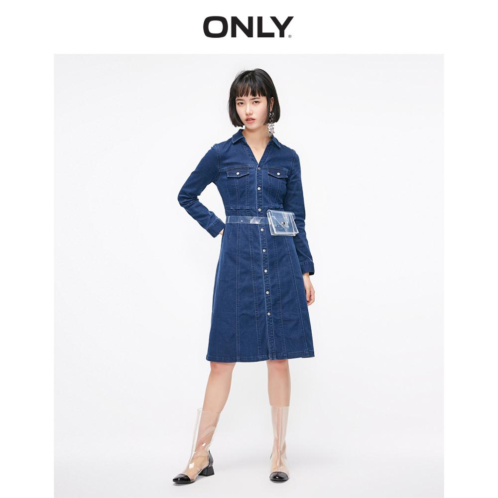 ONLY Women's Slim Fit A-line High-rise Long-sleeved Denim Dress | 119142531