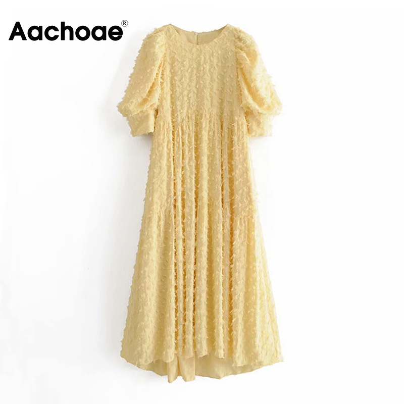 Women Elegant O Neck Long Dress 2020 Puff Short Sleeve Loose Casual Dress Ladies Yellow Pleated Midi Dresses Vestidos Mujer