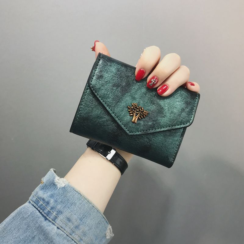 Vintage Women Wallets Leather Short Wallet Hasp Female Small Wallet Coin Purse Card Holder Green Wallet For Ladies Money Bag