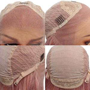 Image 3 - Leeven 24 Silky Straight Hair Synthetic Lace Front Wig 613 Blonde Wigs For Woman Pink Copper Ginger Cosplay Wigs Baby Hair