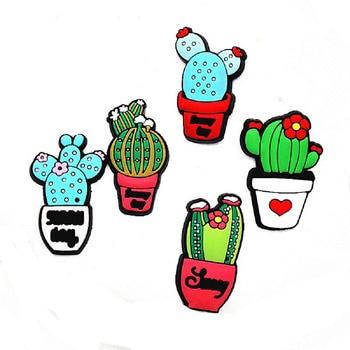 5pcs/set lovely Cactus PVC Shoe Charms Vegetation Shoes accessories Shoe Decoration Buckles Fit Band