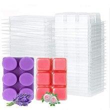 10 упаковок воск расплава раскладушки для свеч квадратный 6 cavity прозрачный Пластик куб лоток для изготовления свечей & мыло