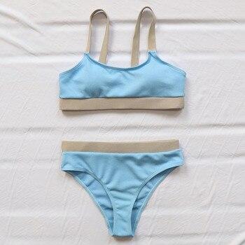 INGAGA High Waist Bikinis Swimsuits Bandeau Swimwear Women Splicing Biquini Beachwear Sports Ribbed Bathing Suits New 8