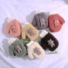 Зимние Детские перчатки для мальчиков и девочек Теплые детские перчатки на меху с мультяшным котом, теплые вязаные варежки 7 цветов