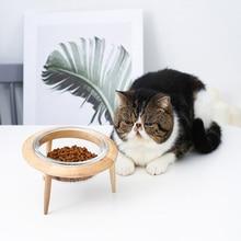 Ceramic Bowl Glass Cat Saucer Oak-Frame Flying High-Foot