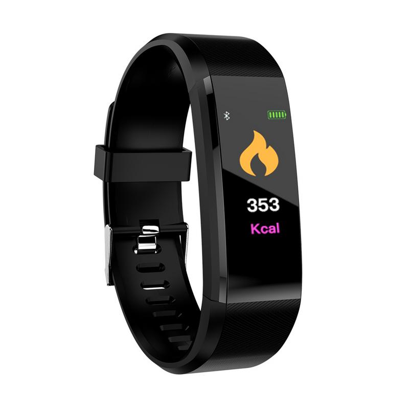 Waterproof Pedometer Smart Blood Pressure Monitor Heart Rate Fitness Tracker Pedometer Running Step Counter Wrist Watch 115Plus