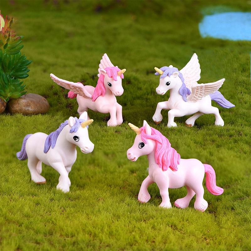 2pc 4x5cm Unicorn Horse Elf Statue Animal Model Figurine Home Ornament Glass Decor Miniature Craft DIY Garden Fairy Decoration