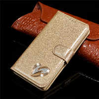 Glitter Bling Case For Samsung Galaxy A8 2018 Flip Leather Book Love Jewell Cover For Samsung A 8 2018 A530F A530F/DS Case