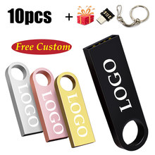 10PCS Free Custom LOGO USB Flash Drive 4GB 8GB 2.0 High Speed Pen Drive 16GB 32GB 64GB 128GB Pendrive metal usb sticks with key