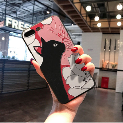 For iphone 7 Case 8 7 plus 3D Fox Koi anime Phone Cases Luxury Embossed Matte Retro Cover For iphone 6 6S Plus XS MAX XR 11 case